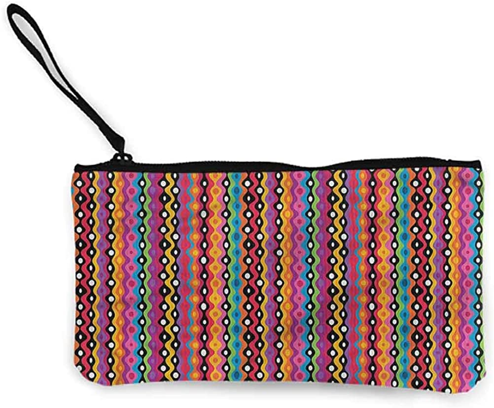 Tribal Zipper Pouch Small Cosmetic Makeup Bags, Forest and Animal Style Foliage Leaves Primitive