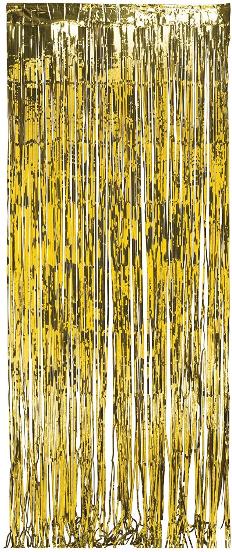 Creative Converting Foil Fringe Door Curtain, 3' x 8', Gold