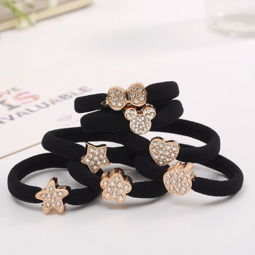 Extra Thick Rubber Bands with Gold Tone Ornaments and Sparkling Crystals