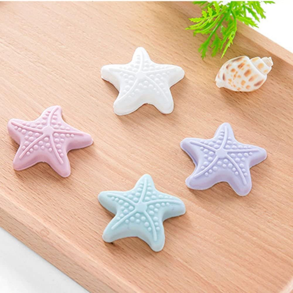 ORYOUGO 4 Pieces Multicolor Starfish Design Self-Adhesive Door Stop Wall Protector,Door Handle Bumper Rubber Stoppers,Wall Guards Stoppers for Living Room Baby Room Bathroom(Mixed)