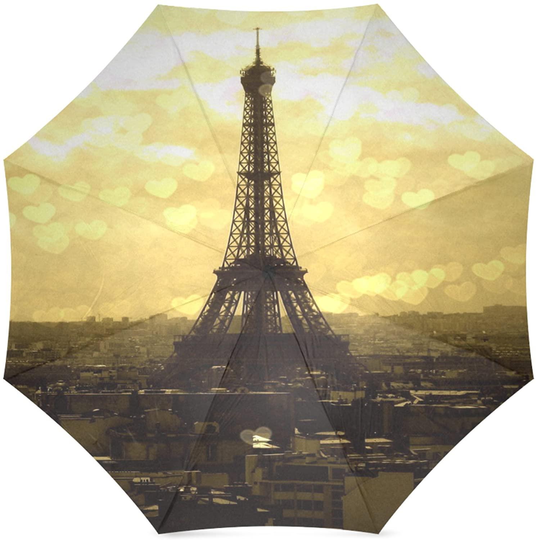Artsbaba Umbrella Eiffel Tower Paris Compact Travel Umbrella Rain Waterproof Foldable Umbrella UV Protection Easy Carrying