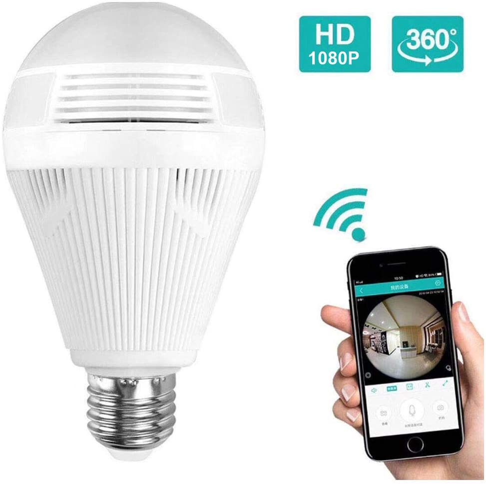 Hosecurity Light Bulb Camera, 1080P WiFi Panoramic Camera, IP Security Surveillance System with IR Motion Detection, Night Vision, Two-Way Audio
