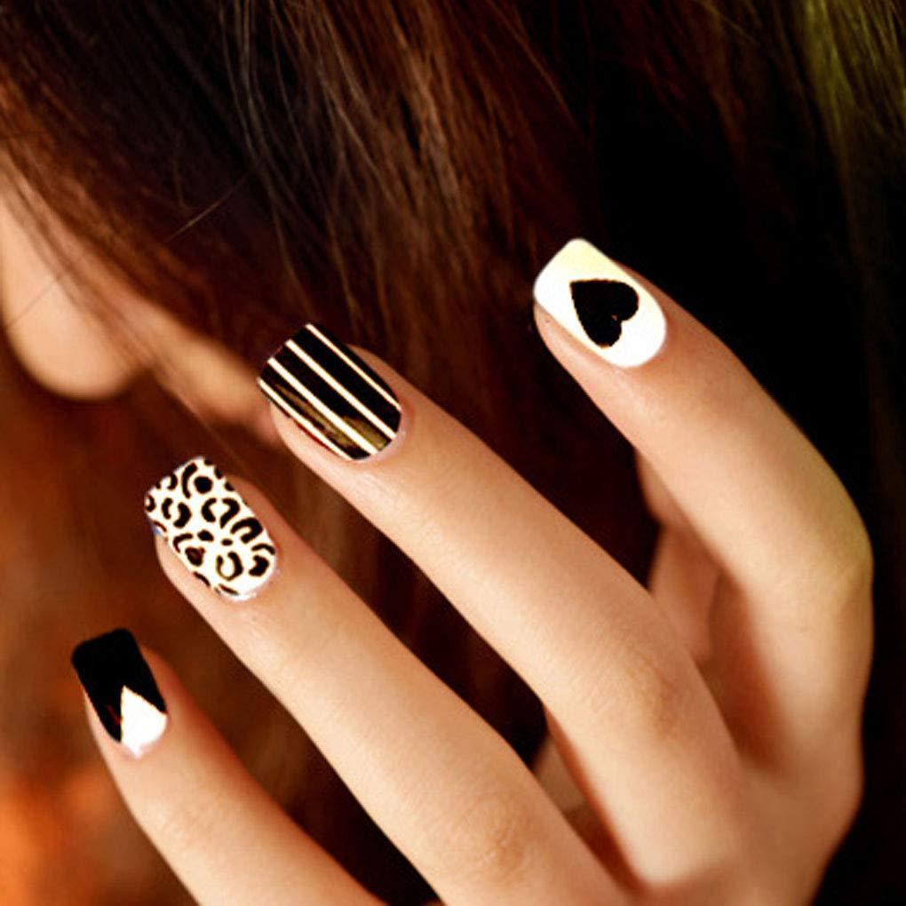 Olbye Glossy Press on Nails Medium Fake Nails White Black False Nails Stripe Full Cover Artificial Nails for Women and Girls 24 Pcs