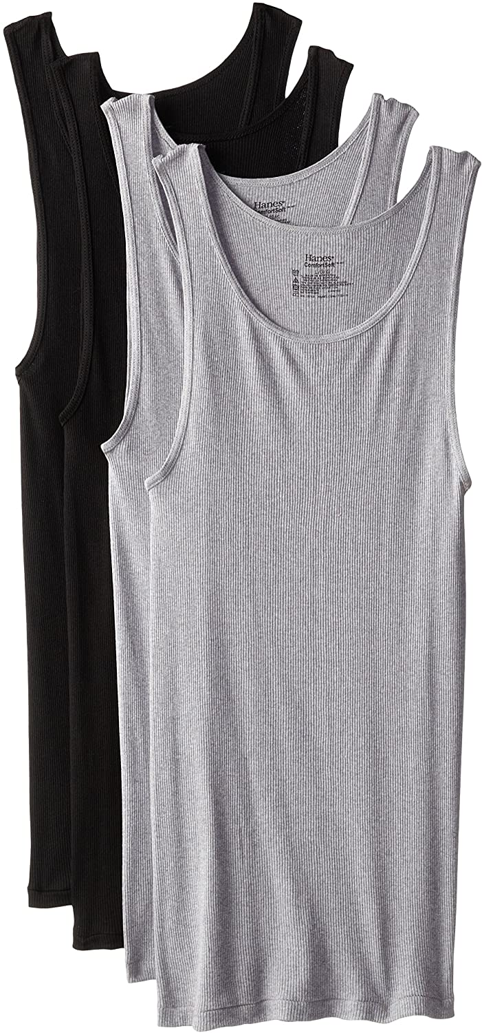 Hanes Men's 4-Pack ComfortSoft Moisture Wicking Tagless Tanks