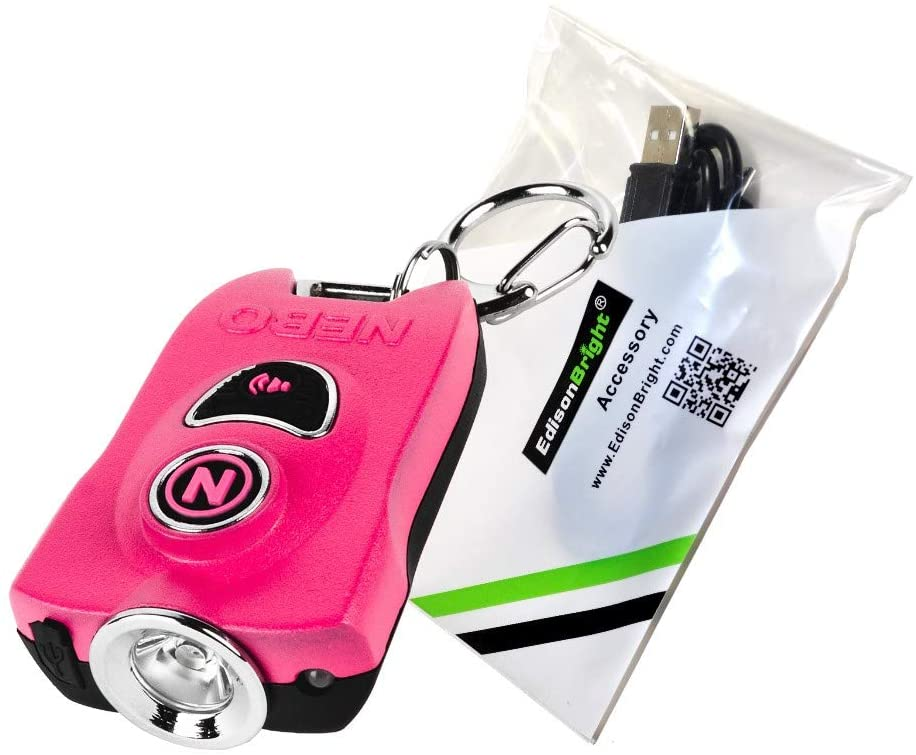 NEBO MyPal 6909 Personal Alarm Flashlight: 400 Lumen rechargeable key ring flash light and 83dB Emergency Alarm with EdisonBright USB charging cable bundle (Pink)
