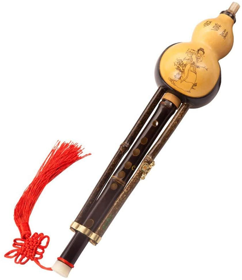 Guanso Chinese Traditional Gourd Silk Musical Instrument Purple Bamboo Double Tone  B/C/D Tune HULUSI National Orchestral Instrument Suitable for Beginners (Size : C Key)