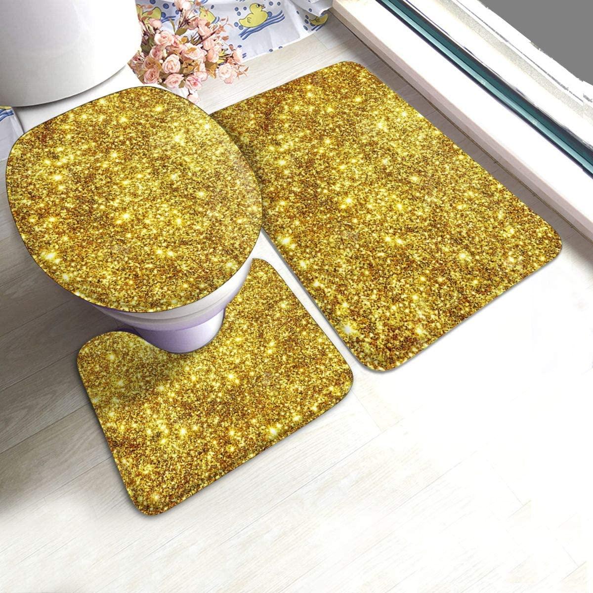 Bathroom Rugs Set Placer Gold Soft Non Slip and Absorbent Bathroom Rug Set of 3