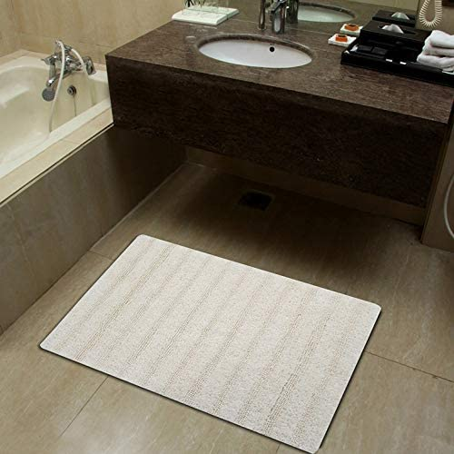 Pure Cotton Luxury Feel Bathroom Mat | Durable Shower Mat | Extra Absorbent Machine Washable Bath Rug Runner Doormat, (Pack of 1-20X32 Inches, Ivory)