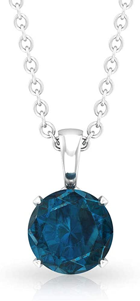 0.90 Carat Round SGL Certified Blue Topaz Solitaire Pendant, Minimalist Gemstone Drop Long Chain Bridesmaid Charm Necklace, Mother Day Birthstone Gift