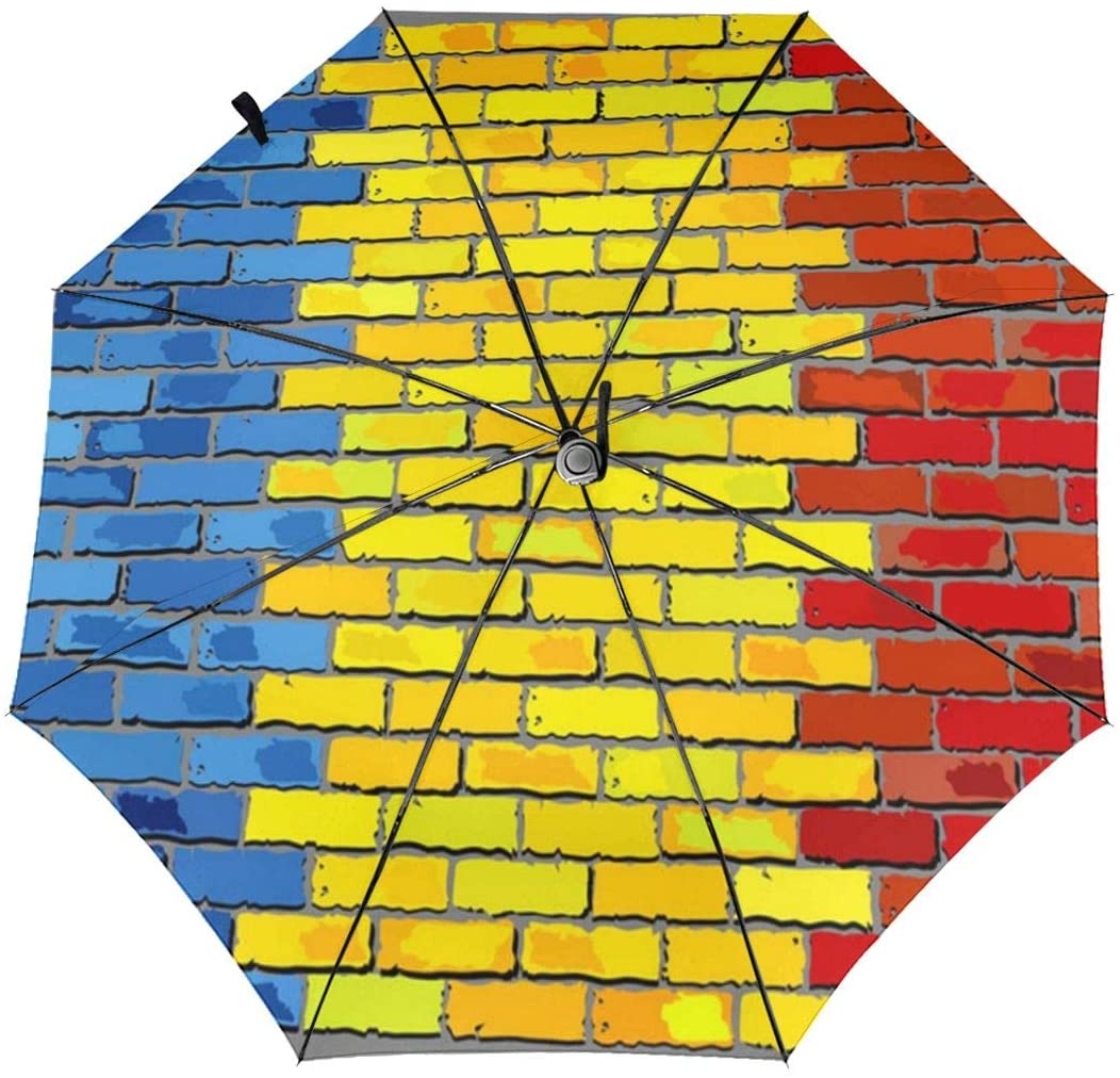 Romania Flag On A Brick Wall Windproof Automatic Folding Umbrella Tri-fold Umbrella