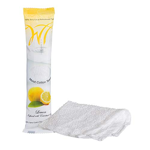 White Towel Services Terry Cotton Moist Refreshment Towels (50 pack, 8 x 8 inches) - Lemon Scent Infused with Essential Oils
