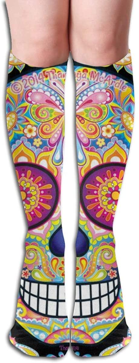 17Soclle Smiling Skull Compression Socks Men & Women Running, Athletic Sports - Below Knee High