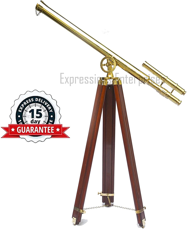 Expressions Enterprises Brass Double Barrel Telescope Nautical Spyglass On Wooden Tripod 65
