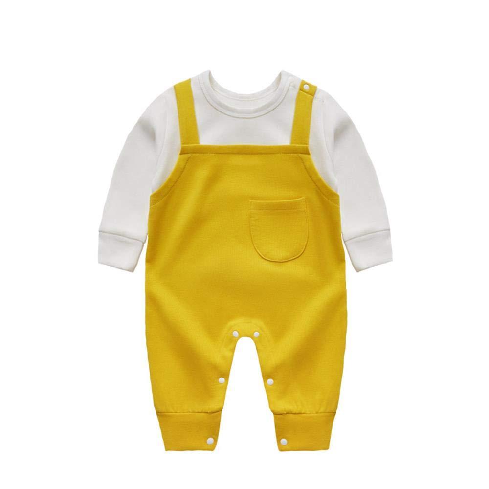 Baby Romper Boys Girls Newborn Gentleman Long Sleeve Onesie Cotton Overalls Yellow Pocket 0-3 Months/59