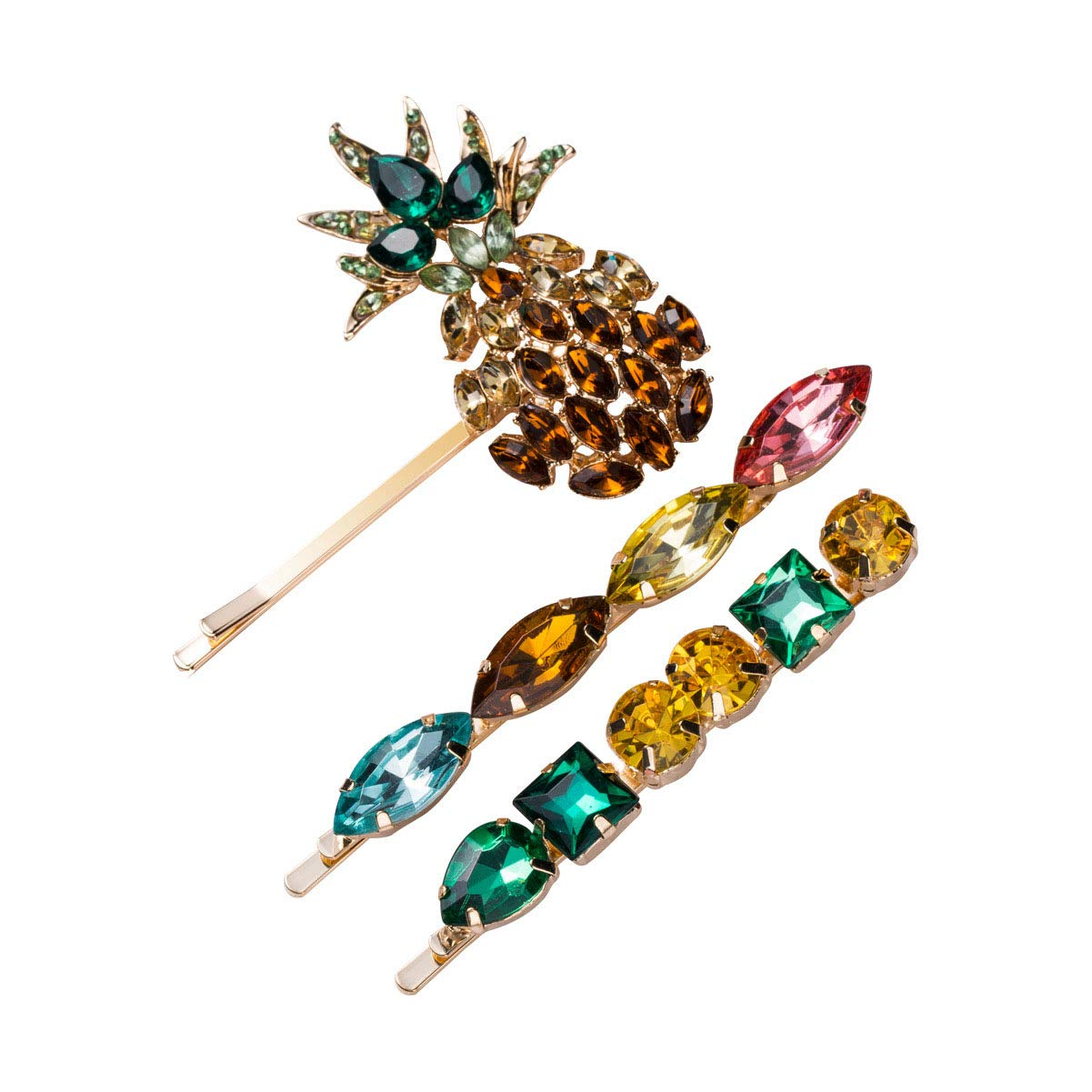 Set of 3 Rhinestone Crystal Pineapple Bangs Hair Clip Barrettes Bobby Pins for Women - Fashion Alloy Side Clip Hairpin Hair Accessories