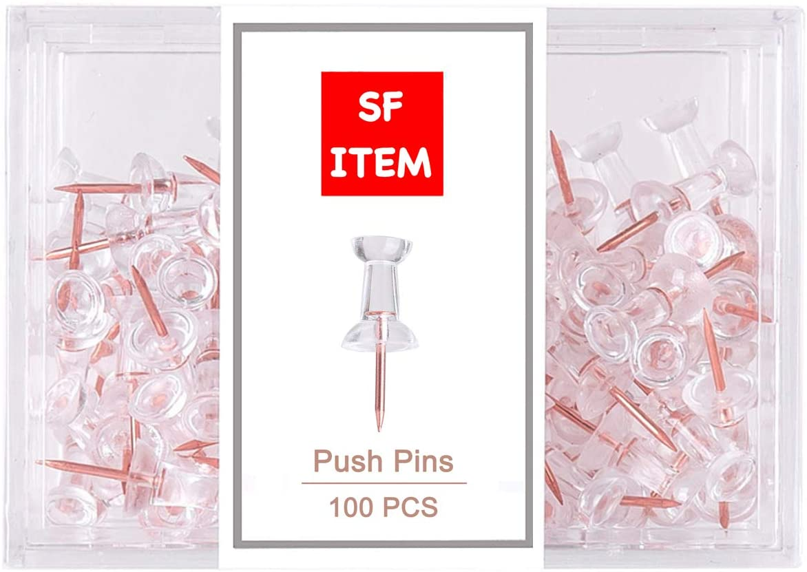 SF ITEM Push pins Map Tacks - 100 Pcs Clear Corkboard Pins for Photo Wall, Maps, Bulletin Board, Cork Boards or Foam Board