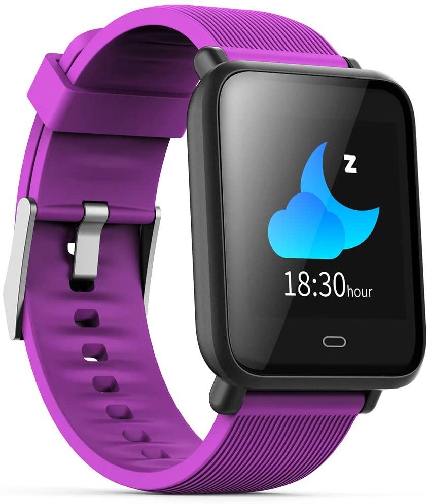 Smartwatch,Q9 Blood Pressure Smartwatch (15 Days Work, Message Display, Multi-Sport Model, HRM Heart Rate Waterproof Smart Watch (Purple)