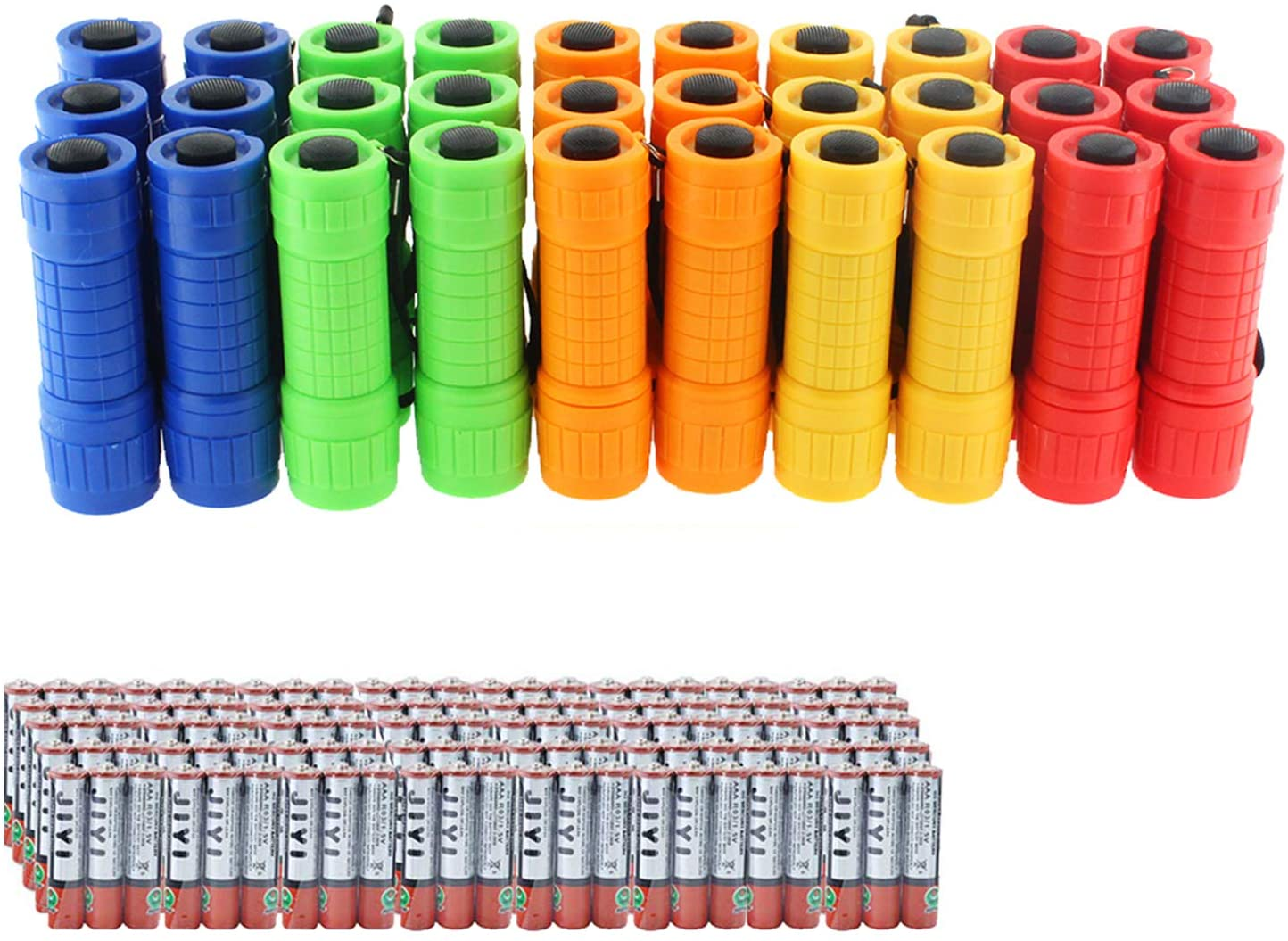 30-Pack Small Mini Flashlight Set, 5 Colors, COB LED Handheld flashlight with Lanyard,90-Pack AAA Battery Included for Kids/Night Reading/Party/Camping/Emergency/Hunting