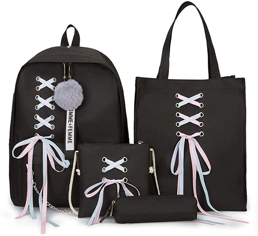 Rhfemd Ribbon Chain Bowknot Letter High Capacity Backpack Travel Rucksacks Daypack For Teenage Girls School Bagpack (4Pcs)
