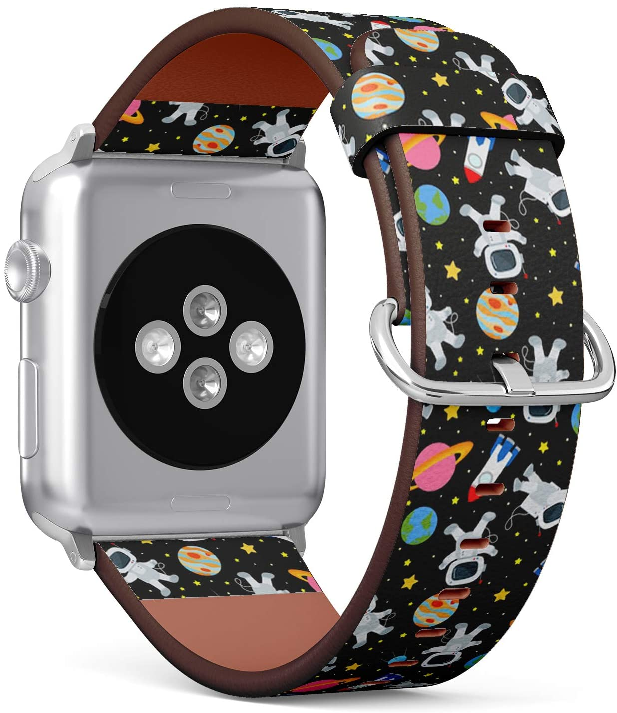 Compatible with Small Apple Watch 38mm & 40mm - (Series 5, 4, 3, 2, 1) Leather Watch Wrist Band Strap Bracelet with Stainless Steel Clasp and Adapters (On Theme Space)