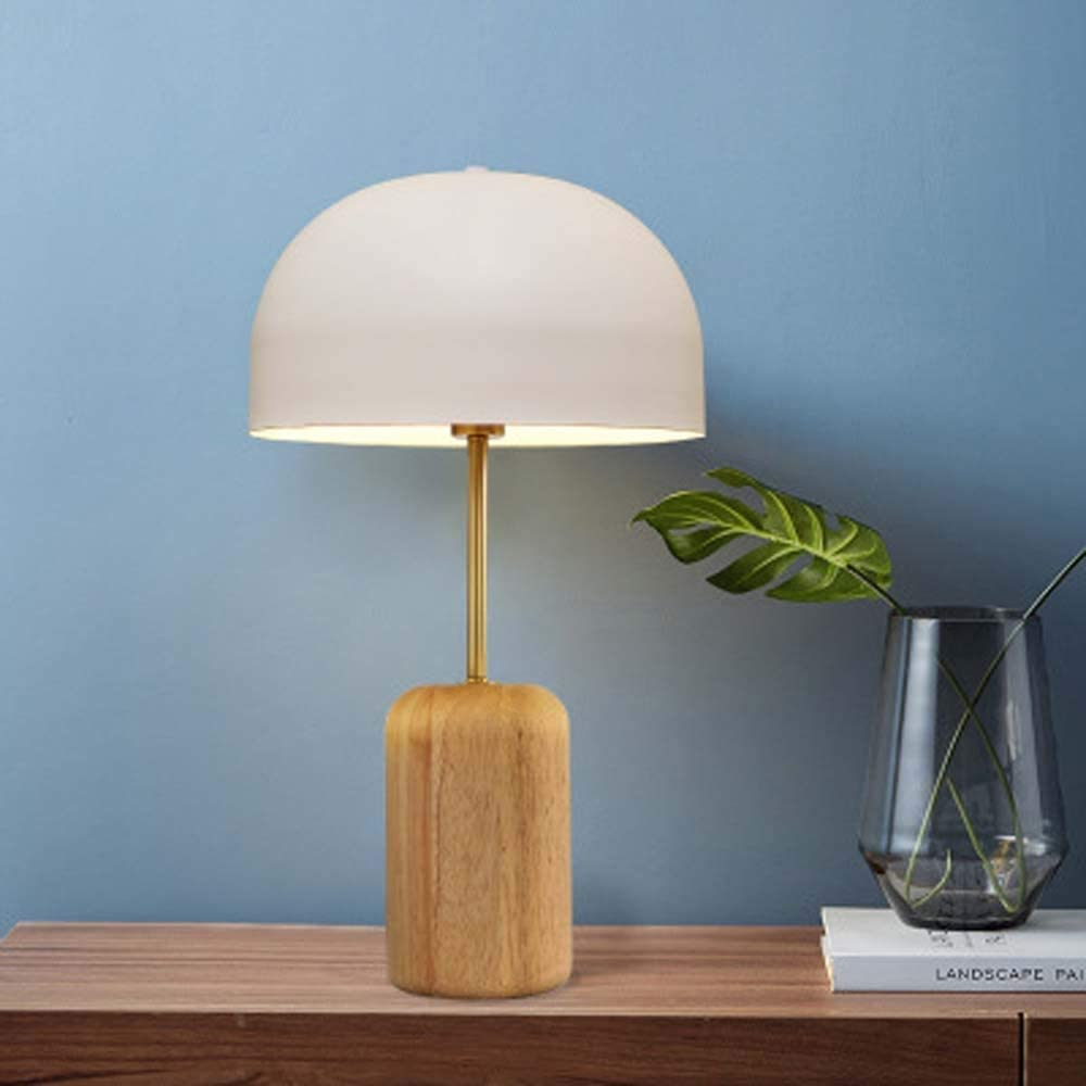 RuiXia Creative Personality Bamboo Wood Wrought Iron Mushroom Table Lamp Nordic Simple Modern Study Living Room Decoration Table Lamp Lighting Lamps Elegant Well-Made