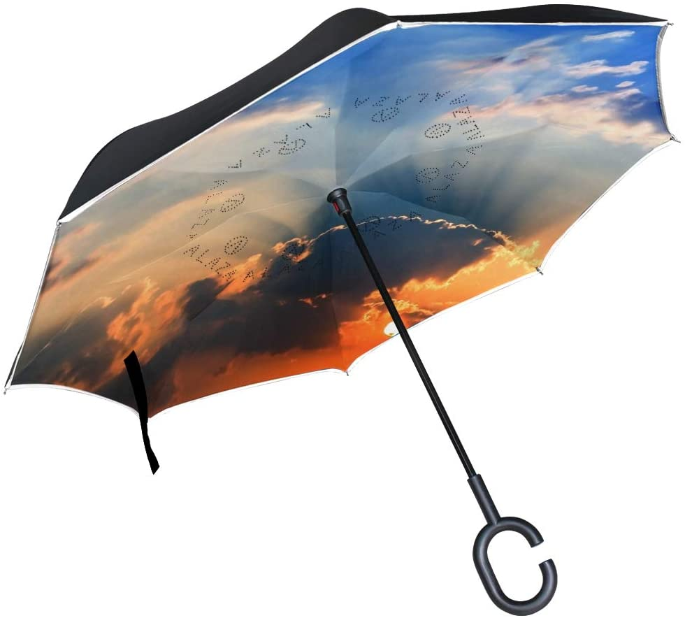 Vipsk Umbrella Reverse Colorful Sky Clouds Creative Cars Umbrella Double Layer Inverted Umbrella Windproof Straight Waterproof Inside Out Travel Umbrellas