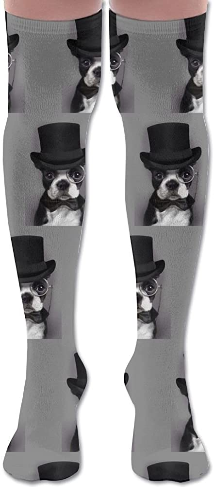 JINYOUR Boston Terrier With Culture Women's 60cm Knee High Socks Thigh High Stockings