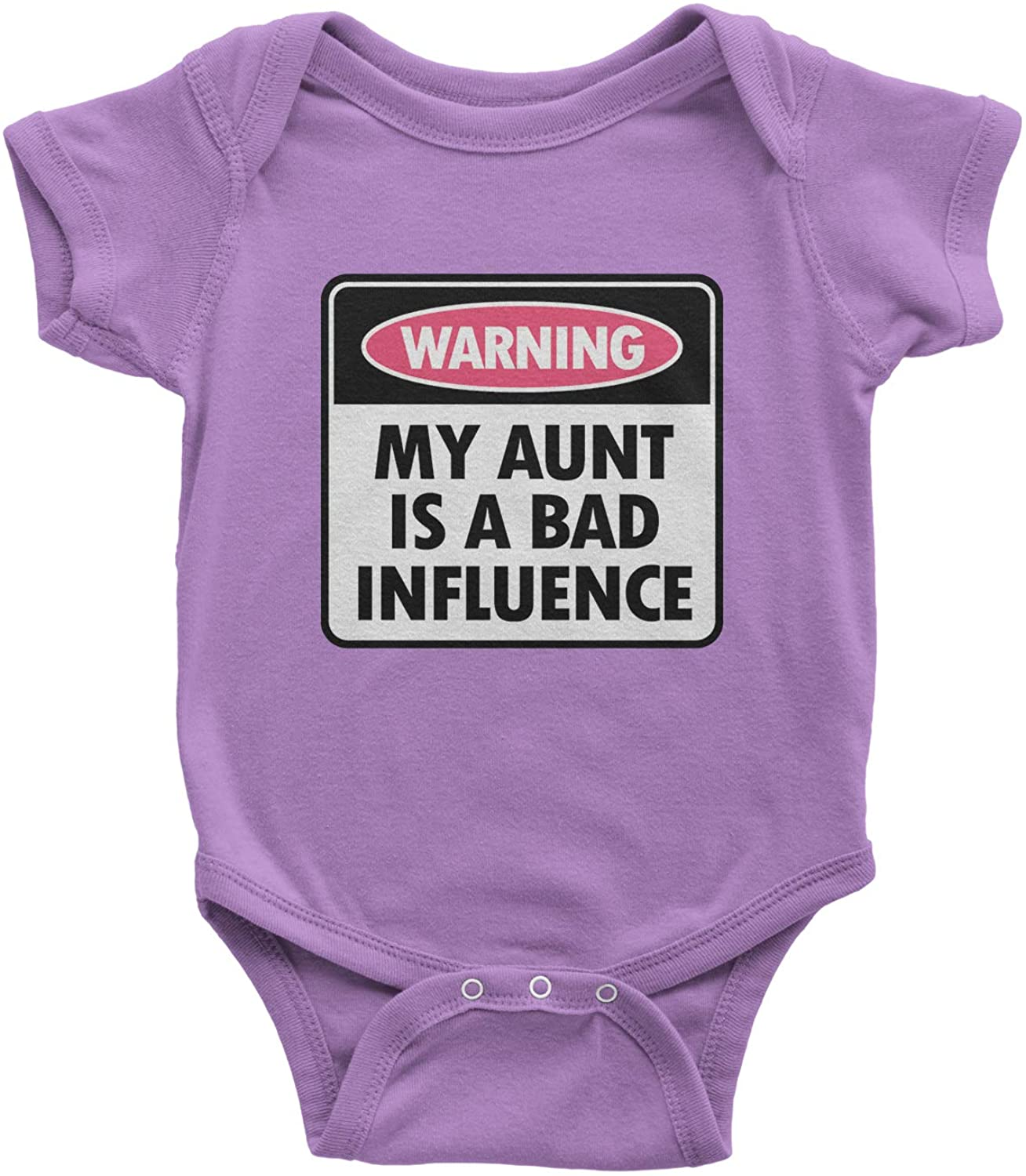Expression Tees Warning My Aunt is A Bad Influence Infant One-Piece Romper Bodysuit