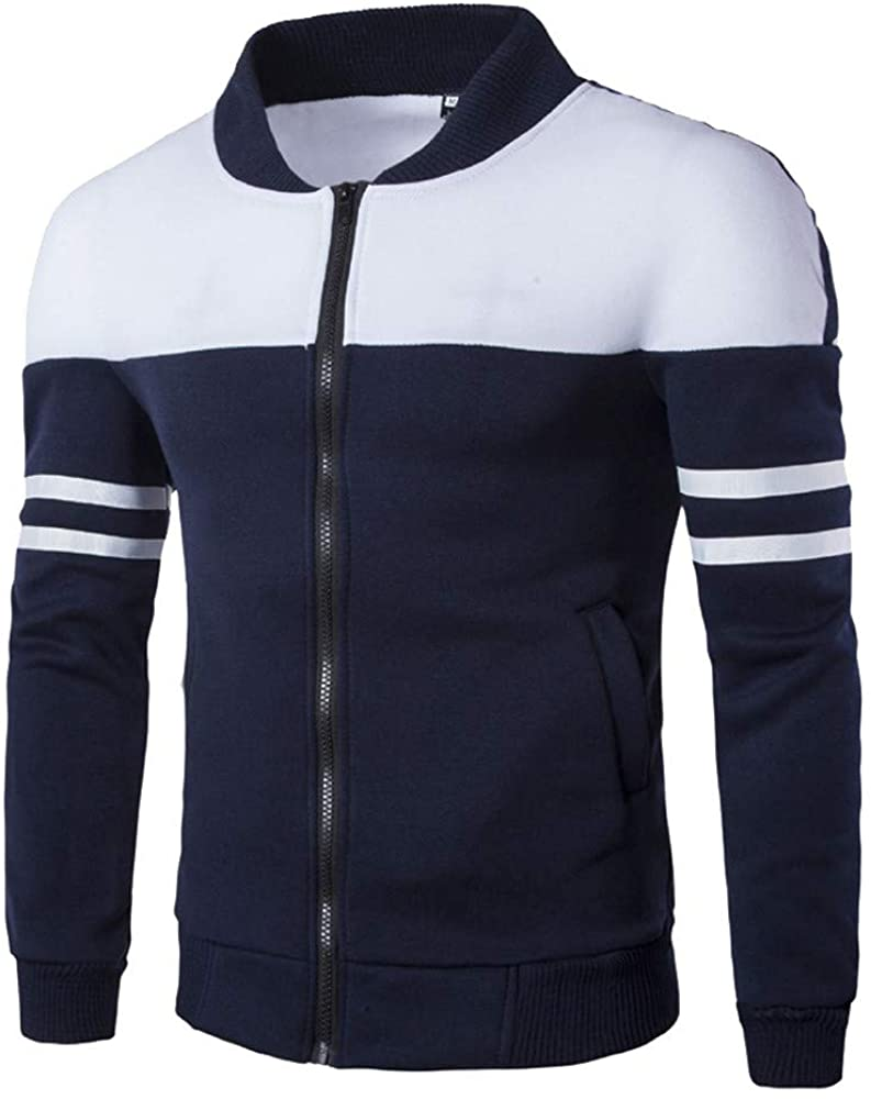 VEKDONE Mens Casual Jackets Full-Zip Lightweight Patchwork Slim Fit Sports Running Fashion Outwear Motorcycle Bomber Coat