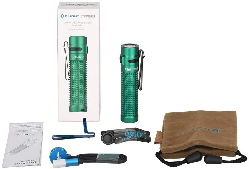 Olight S2R II Baton 1150 Lumen Rechargeable LED Flashlight Side-switch EDC with one customized 3200mAh 18650 Battery, USB Magnetic Charging Cable (Green Limited Edition)