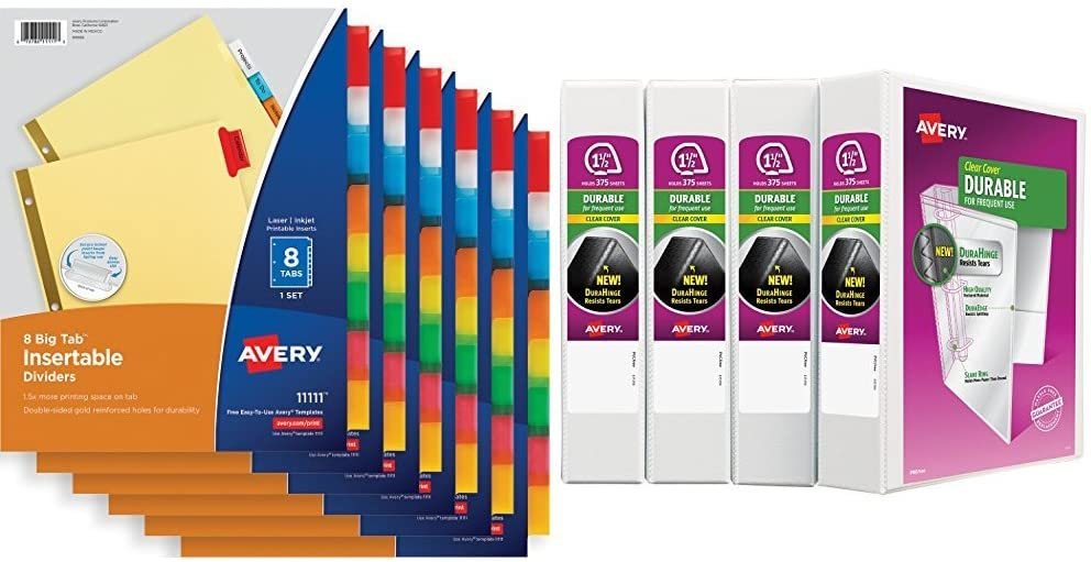 Avery Big Tab Insertable Dividers, Buff Paper, 8-Tab Set, Multicolor, Multi Pack of 6 Sets with 1-1/2