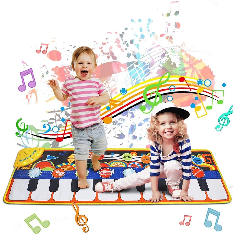 PBQWER Musical Carpet, Piano Mat Keyboard Dance Mat Instrument, Piano Mat Children Touch Mat Birthday Christmas (110X36 cm)