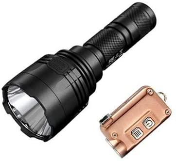 Combo: Nitecore P30 Long Range Flashlight - XP-L HI V3 LED - 1000 Lumen w/TIni Copper USB Rechargeable Keychain Flashlight
