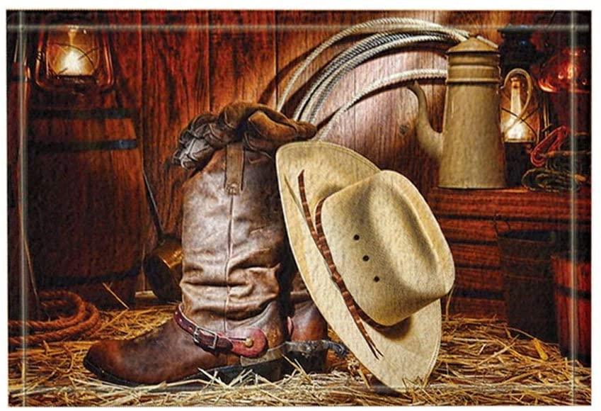 GoHeBe Westard Decor, A Pair of Boots and A Cowboy Hat, Bath Rugs, Non-Slip Doormat Floor Entryways Indoor Front Door Mat, Kids Bath Mat, 15.7x23.6in, Bathroom Accessories