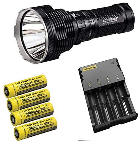 Bundle: Acebeam K70 Flashlight XHP35 HI LED -2600Lm w/Nitecore I4 Intellicharger & 4x 3400mAh Batteries