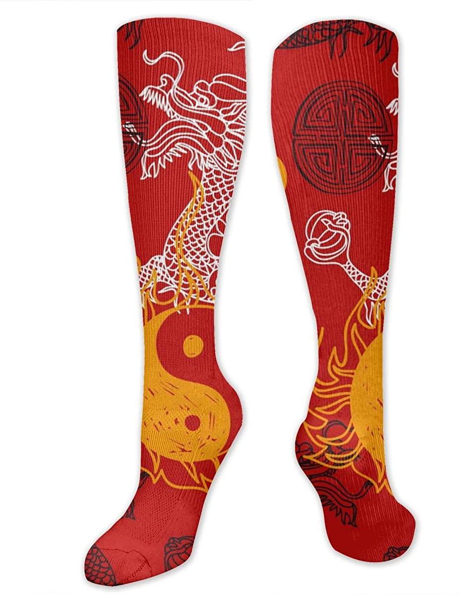 Dragon Yin Yang And Blessing Athletic Socks Thigh Stockings Over Knee Leg High Socks