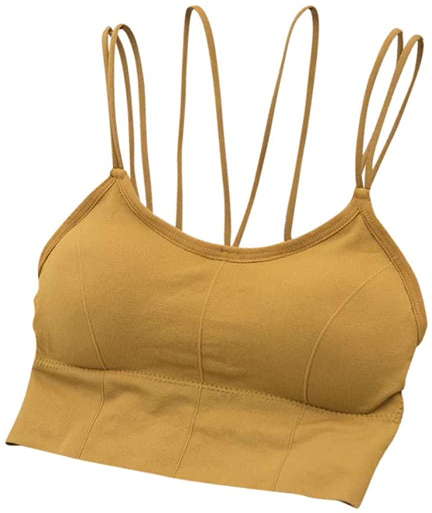 HHoo88 Women Tank Tops Seamless Underwear Sports Yoga Push Up Bra Sexy Lingerie Intimates with Padded Camisole Tops