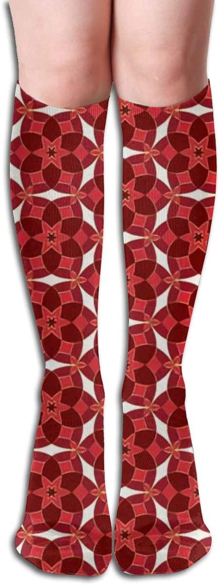 Gold Christmas,Design Elastic Blend Long Socks Compression Knee High Socks (50cm) for Sports