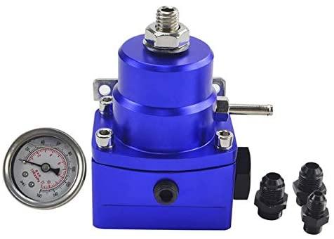 DishyKooker AN8 High Pressure Fuel Regulator W/Boost-8AN 8/8/6 EFI with Reinforcement Blue