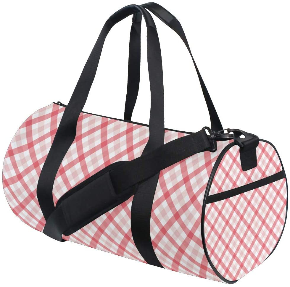 Brighter Red Square Lattice Fitness Sports Bags Gym Bag Travel Duffel Bag for Mens and Womens