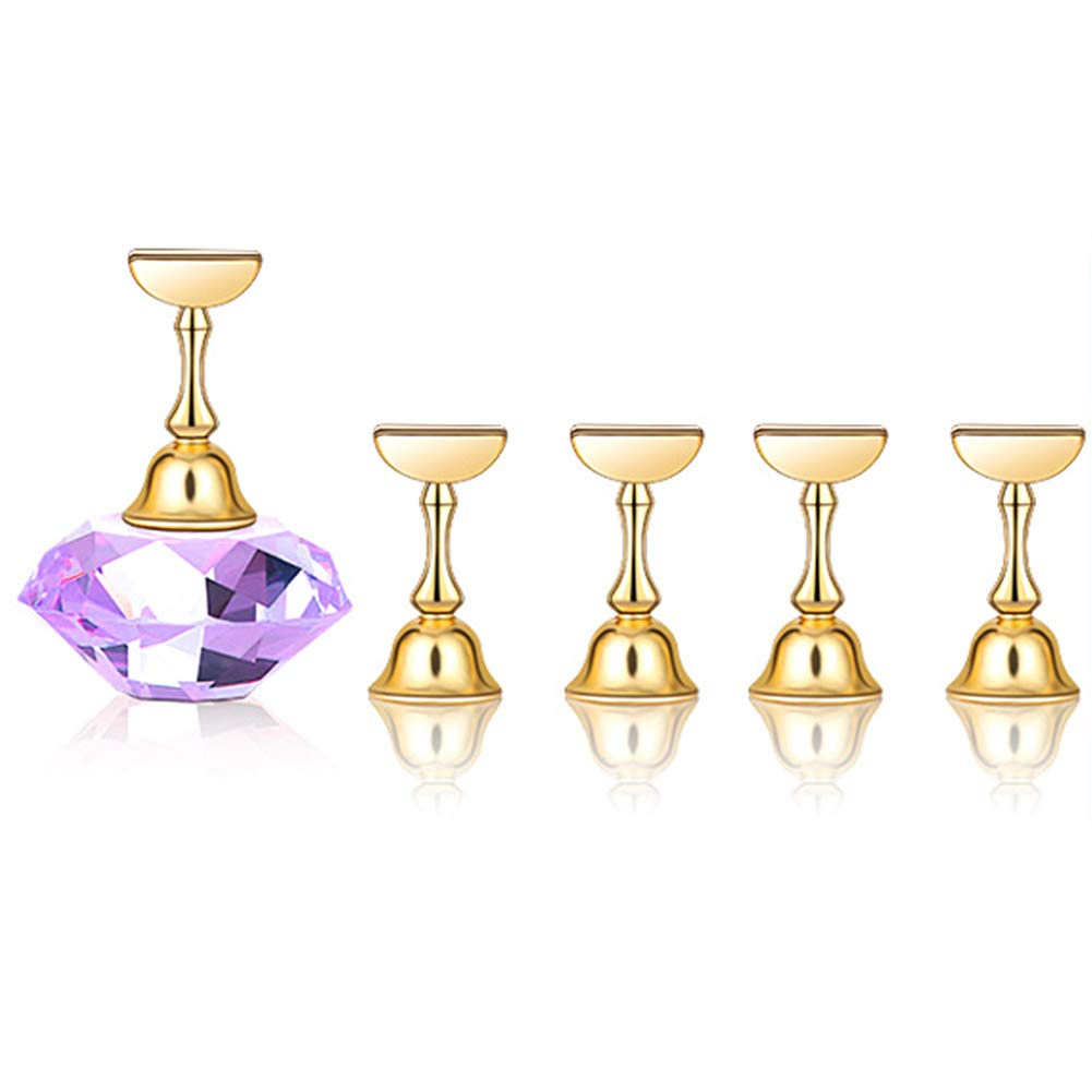 Nail Tip Holder 1 Set Manicure Tool With Crystal Base Strong Suction Salon Accessories Nail Art Alloy Specialist Practice Stand Showing Shelf Learner Magnetic Display(Purple)