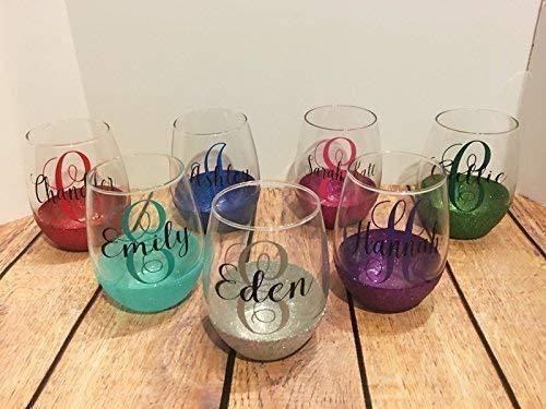 Personalized Glitter Stemless Wine Glass