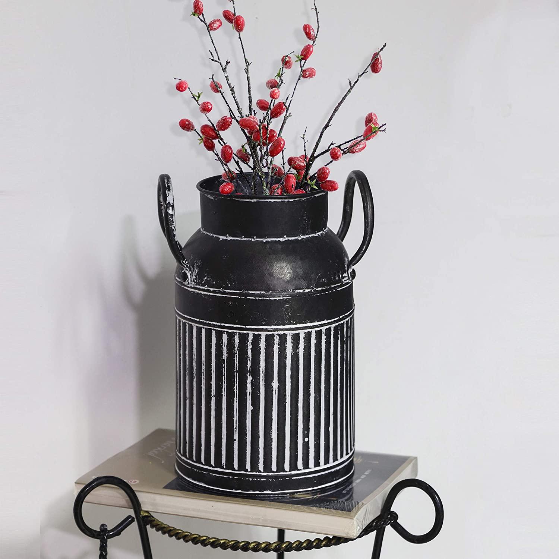 Fovasen Farmhouse Galvanized Finish Bucket Vase Classy Designed Metal Milk Can Pitcher Vase Jug Country Rustic Style Primitive Decorative Flower Holder for Table Centerpiece Rustic Home Décor - Black
