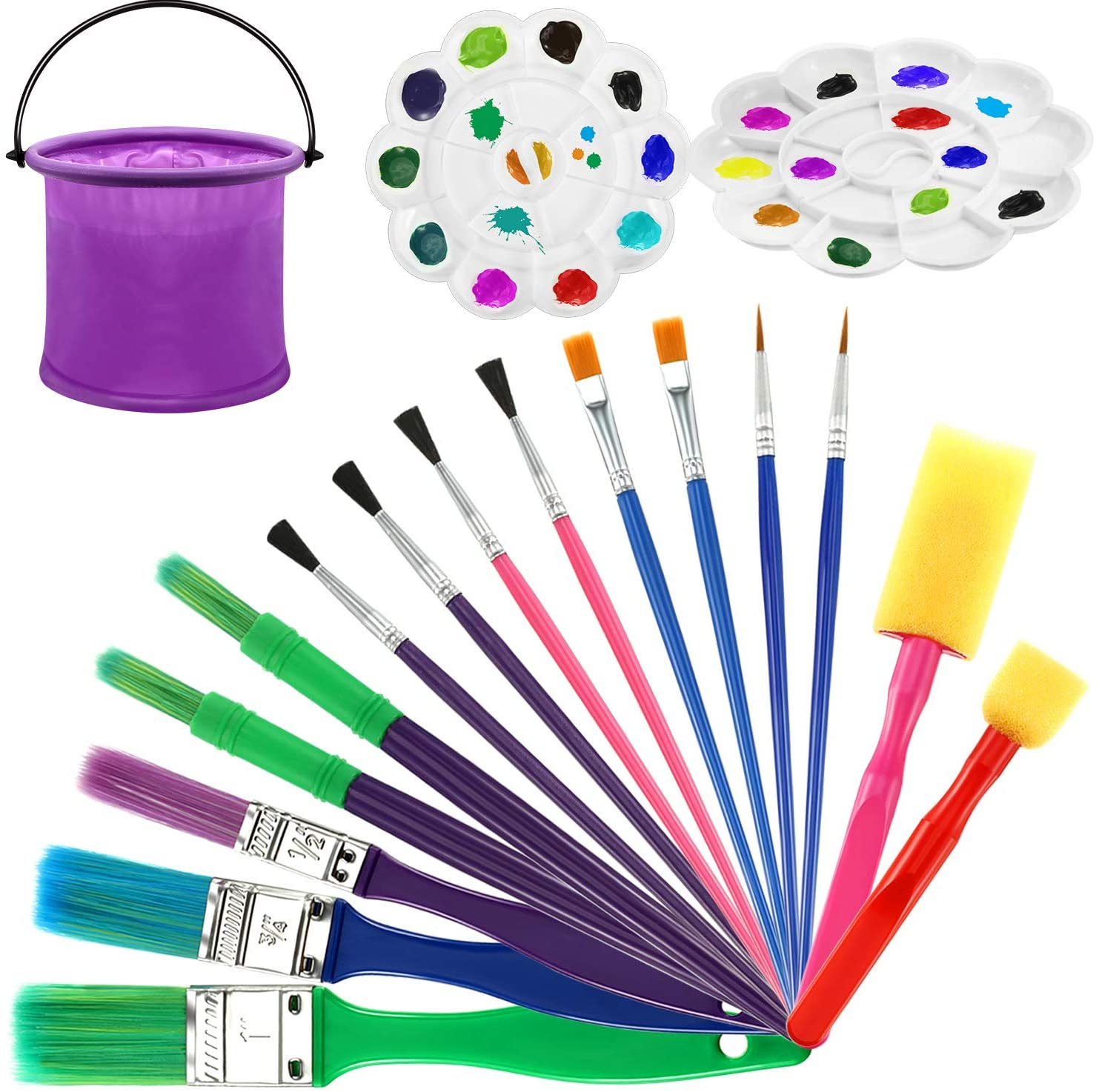 Kids Paint Brushes Set Painting Tool for Kids, Including 15 Paint Brushes, 2 Tray Palettes Painting Tray, 1 Folding Bucket, Painting Tool Kits for Acrylic Watercolor Oil Tempera Paint Party