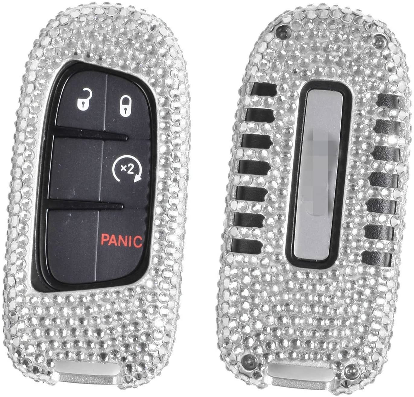 M.JVisun Handmade Car Key Fob Cover for Jeep Grand Cherokee SRT Cherokee Renegade Compass Smart Remote Key, Diamond Bling Crystals Aluminum Key Protector Case Cover - Silver