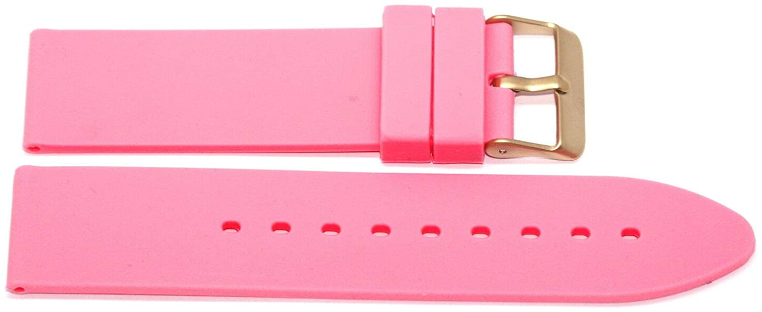 22MM Pink Rubber Silicone Watch Strap Band Gold Buckle