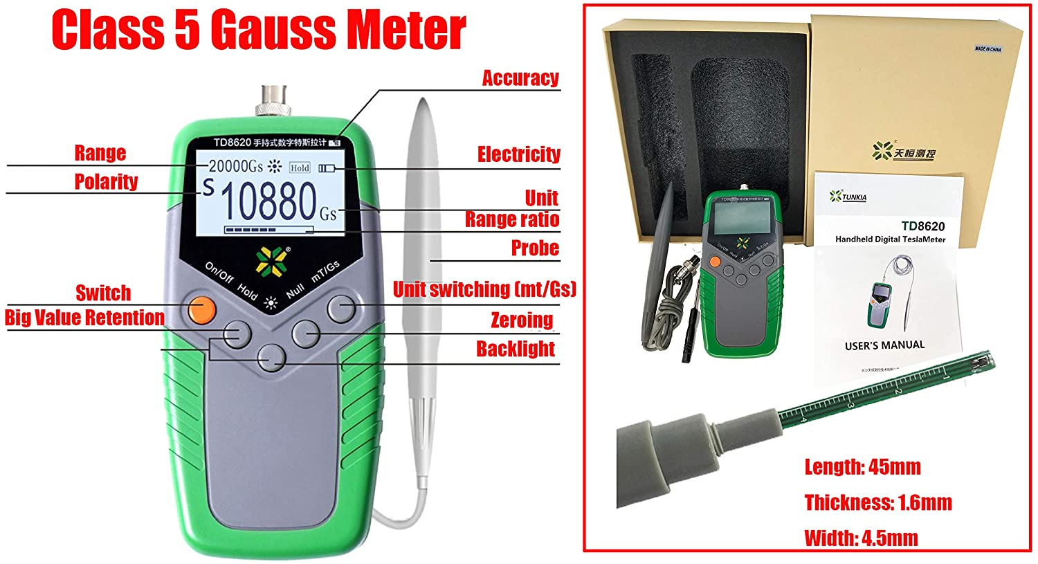 HFBTE TD8620 5% Accuracy Gauss Meter Permanent Magnet Tesla Meter Gaussmeter with mT/G Unit Switch Display Surface Magnetic Field Tester
