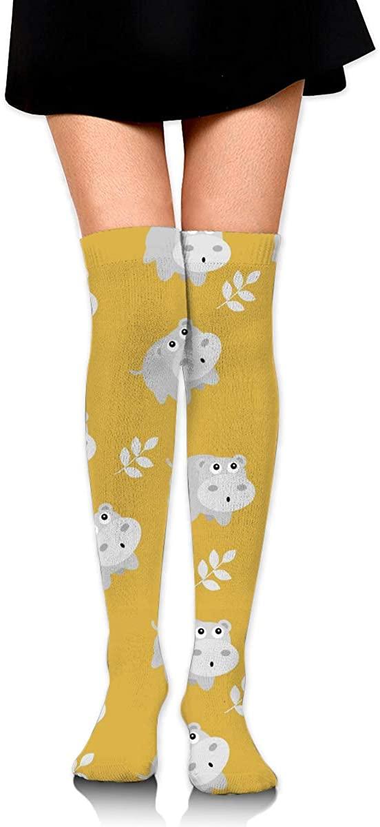 Hippopotamus Pattern Women Knee High Socks Thigh Long Tube Stockings