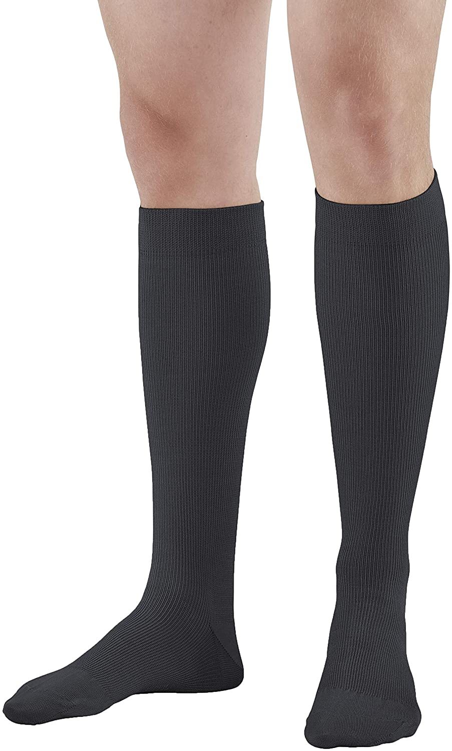 Ames Walker AW Style 111W Cotton Firm 20 30mmHg Knee High Socks Black Large Wide