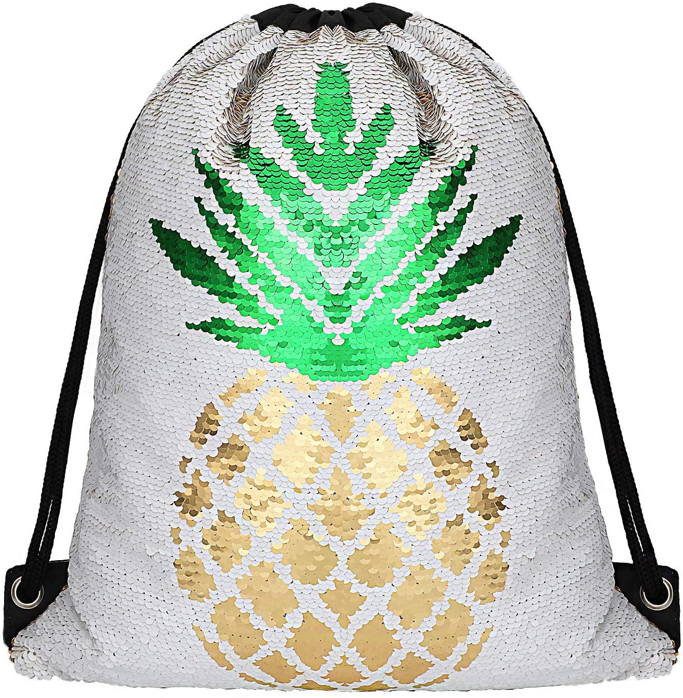 Phogary Sequin Drawstring Backpack, Dancing Reversible Mermaid Bag for Sport Outdoor Travel Beach Hiking (Gold Pineapple)
